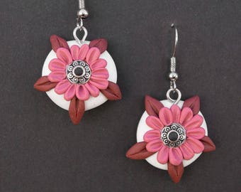 Polymer clay earrings, floral earrings, flower earrings, nature earrings, nature complements, boho style hippie, pink earrings, spring,