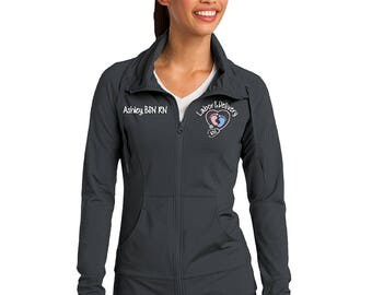 Labor and Delivery Nurse Stretch SportWick Jacket with FootPrints Stethoscope-RN LPN zipup light weight jacket with several colors-LST852