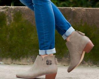 Hudson Short Boot, Monogrammed Booties, Monogrammed Boots