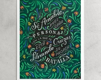 "Sé Amable Print, ""Be Kind"", Spanish Quote, Education, Kindness Acceptance, Black & Green, Floral Pattern, Chalkboard Art, 8x10, 11x14, 24x30"
