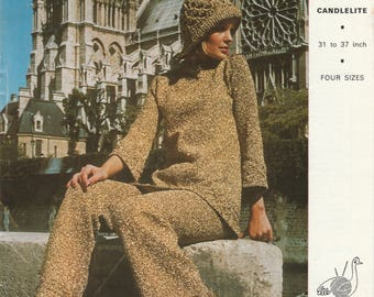 1970's Lurex Pant Suit And Hat Hard Copy Vintage Knitting Pattern | Tunic And Trousers | 4 Sizes 31 To 37 Inch | Emu 2971 Candlelite