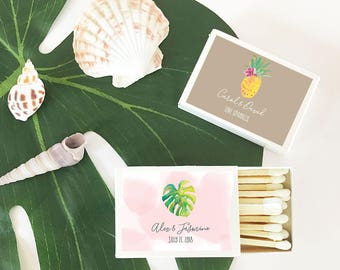 Personalized Tropical Beach Match Boxes, (Set of 50)