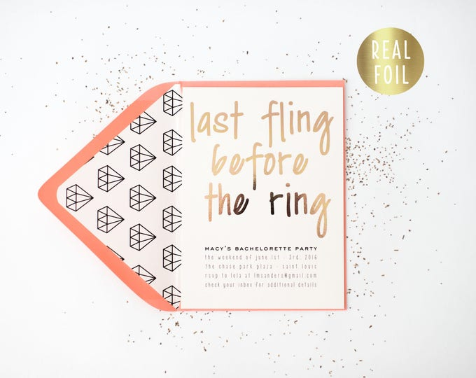 gold foil bachelorette party invitation  - customizable (sets of 10)  // gold foil diamond modern bachelorette party weekend invite