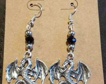 Black and Silver Dragon Fantasy Earrings, Statement Earrings, Skyrim Earrings, Dragon Jewelry, Fantasy Jewelry, Silver Dragon