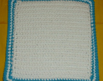 """WHITE and BLUE POTHOLDER - Crocheted w/ Lily's Sugar and Cream Cotton Yarn, White and Blue Double Sided, 9"""" length, 9"""" width"""