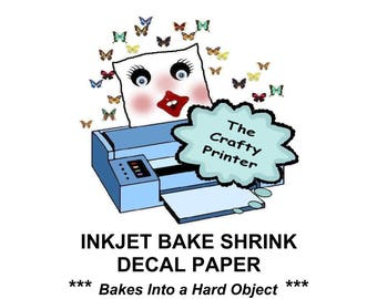 INKJET BAKE SHRINK Printer Paper Create Hard Object Crafts with Computer, Printer & Oven. Your imagination is your only limit!  (20 Sheets+)