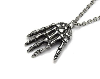 Human Skeleton Hand Pendant Necklace, Anatomy Jewelry