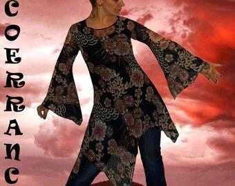 Tunique  stretch ,tunique longue , tunique asymétrique , tunique en dentelle   ' Flower' Lace ...'