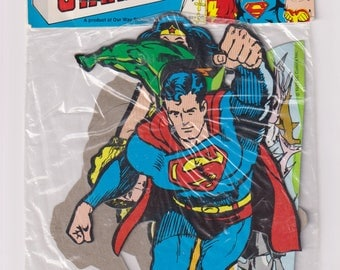 1977 Factory Sealed Super-Hero Stand-Ups. DC Comics Superman, Shazam, Flash, Aquaman, Wonder Woman, Paper Ephemera. Our Way Studios