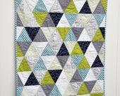 Modern Baby Boy Quilt, Geometric Triangle Pattern, Navy, Gray, Chartreuse, Light Blue