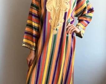 VTG 1970s Rainbow Striped Caftan