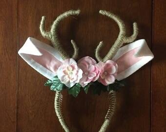 Jackalope Headdress, Jackalope Antlers with Ears, Antler Headband with Flower Crown