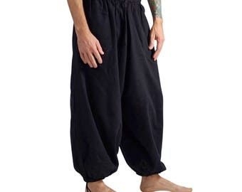 BAGGY PANTS BLACK - Steampunk Pants, Pirate, Medieval, Renaissance clothing, Viking, Peasant Pants, Renaissance Festival Costume, Zootzu