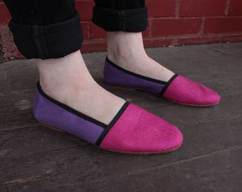 Vintage 90's PInk and Purple Flat Shoes   Size 8.5