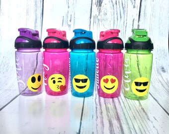 Personalized Emoji Water Bottle, Personalized Emoji Cup, Personalized Kids Water Bottle, Emoji party favor, Emoji Birthday, custom kids cup