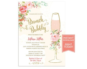 Brunch and Bubbly Bridal Shower Invitation Template - Wedding Shower Invite - Baby Shower - Birthday - Instant Download Editable - LR1050