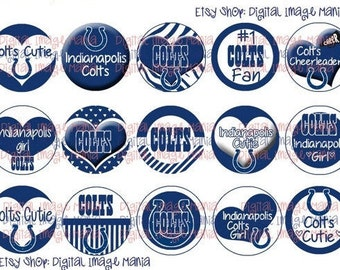 INSTANT Download Indianapolis COLTS Inspired 4x6 Digital Printable 1 Inch Circle Bottle Cap Images