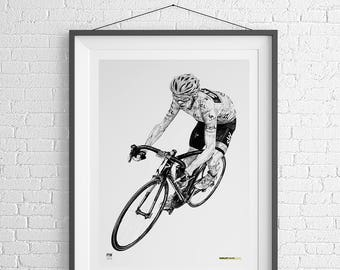 Chris Froome cycling art gift drawing
