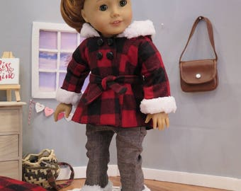 Newly Released! 18 Inch Doll Plaid Winter Coat - Fully Lined Jacket with Fur Hood - Modern Winter Doll Clothes - American Made Girl Doll