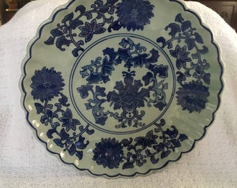 Cobalt Blue Floral Plate, Cobalt Blue Floral Charger,  Blue Rim, Scalloped Rim and Sides, Mystic Seaport Gift Shop, Asian Floral Design