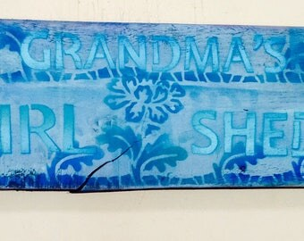 Yard Art Grandmau0027s Garden Sign /girl Shed Decor /pallet Wood Spring Flowers  /Custom