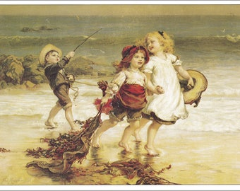 victorian children playing at the beach boy girls seaside print vintage Pears Soap advert ad victoria home decor print 8.5 x 11.5 inches