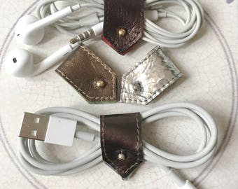 Leather Cord Holder|Cable Organizer|Cord Organiser|Earphone Organizer|iPhone Cord Holder|Leather Cord Keeper|Metallic Leather|Sets of 2 or 4
