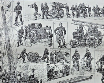 French fire department at the beginning of 20th. Old book plate, 1922. Antique  illustration. 95 years lithograph. 8'1 x 11'4 inches.