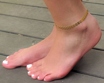 Gold Anklet - Geometric Anklet - Gold Ankle Bracelet - Foot Jewelry - Gold Foot Bracelet - Summer Jewelry - Beach Jewelry
