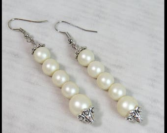 Steampunk EARRINGS PEARLS and Antique Silver FILIGREE Victorian Earrings Steampunk Earrings by SweetDarknessDesigns