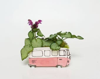 Small pink Westfalia planter. Perfect cactus or succulent planter. Unique planter!