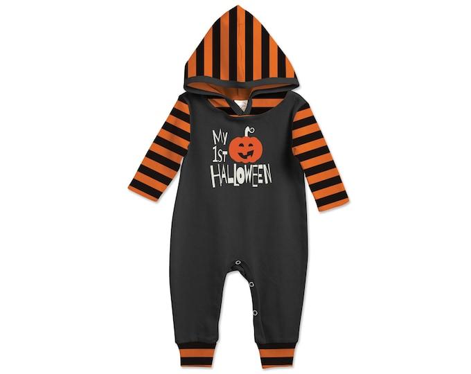 Baby First Halloween Hooded Romper Black and Orange Pumpkin, Baby Unisex Costume Black and White, Jack O' Lantern, Tesababe 81HBKOB5C