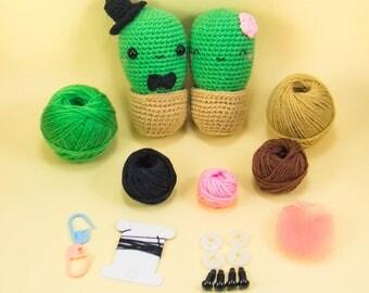 Crochet Cactus Kit - Cactus Amigurumi Kit - Cactus Crochet Kit - Cactus DIY Kit - Stuffed Cactus Kit - Cactus DIY Gift - Crochet Lovers Gift