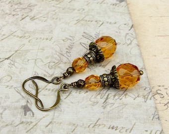 Topaz Earrings, Golden Earrings, Gold Earrings, Orange Earrings, Honey Earrings, Victorian Earrings, Czech Glass Beads, Unique Earrings