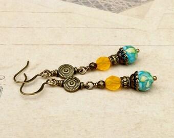 Green Earrings, Howlite Earrings, Gemstone Earrings, Yellow Earrings, Long Earrings,Czech Glass Beads, Long Earrings, Unique Earrings, Gifts