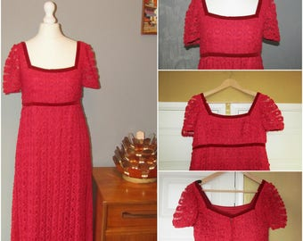 Susan Small red ribbon work empire line maxi dress 60's 70's
