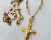 Necklace - French Crucifix 22x35mm - 18K gold vermeil + 18 inch Parisian chain