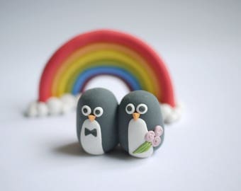 Bride and Groom Penguin Wedding Cake Topper (With or Without Rainbow)