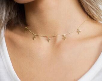 Cross Choker Necklace - Simple Cross Necklace - Dainty Cross Necklace - Cross Choker Necklace - Tiny Cross Choker - Dangle Choker Necklace