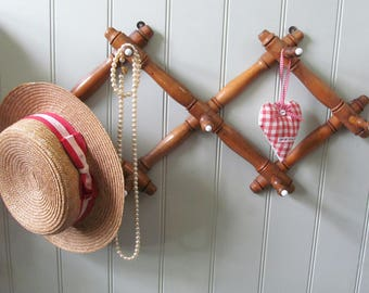 Timeless & useful antique French faux bamboo porte-manteau~Perfect perch for hats, coats, dog leads~Chic hallway or boot room decor~7 hooks