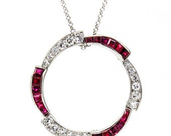 CARTIER Ruby and Diamonds Circle Pendant Brooch in 18k White Gold Vintage