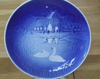 Bing Grondahl Plate, Christmas Decor, Blue Christmas Plate, Vintage Christmas Plate, Blue Christmas Decor Collectible Plate Decorative Plate