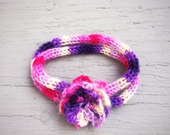 Hypoallergenic Knit Necklace Unique Handmade Jewelry Mohair Chain Necklace Crochet Flower Pendant Pink Purple Choker  Eco-friendly