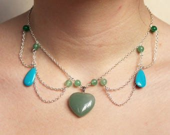 Victorian Style necklace - Aventurine, Green Jade beads and blue cold enamel heart pendant