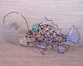 Anglerfish created freehand in wire