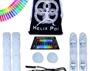 UltraPoi - Helix Poi - LED Poi Set - Best Light Up Glow Poi - Flow Rave Dance - Spinning Light Toy