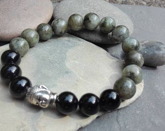 Onyx and labradorite bracelet ,  Buddha bracelet