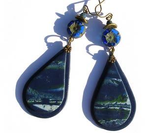 Boucles d'oreilles bohèmes bleues, fleur verre tchèque bronze boho hippie gipsy retro ethno chic ooak pâte polymère