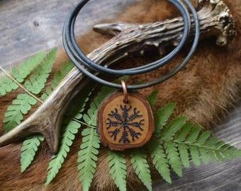 Aegishjalmur pendant, wooden pendant, wooden slice pendant, talisman, protection talisman, men's necklace, men necklace, wooden necklace