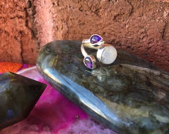 Beautiful Rainbow Moonstone and Amethyst Gemstone Ring Size 7.5 925 Sterling Silver Healing Crystal Healing Stone Chakra